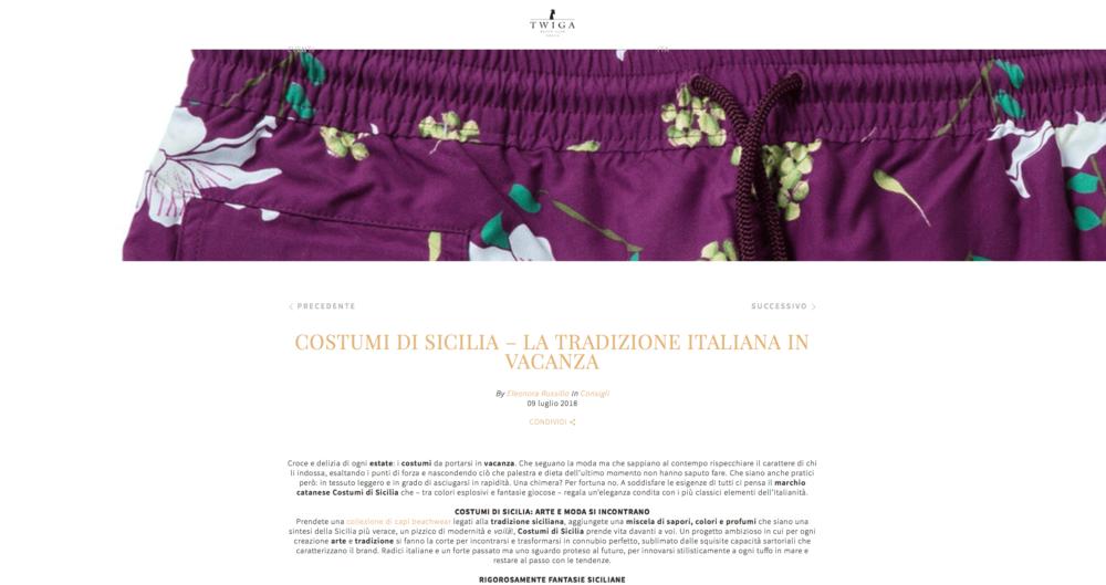 Twiga costumi di Sicilia